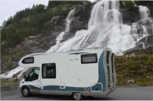 "Rv 520 ""snow road"".Svandalsfossen waterfall near Sauda"